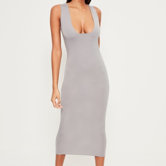 5fe312f6279b New with tags - Gray Jersey Square Bust Midi Dress